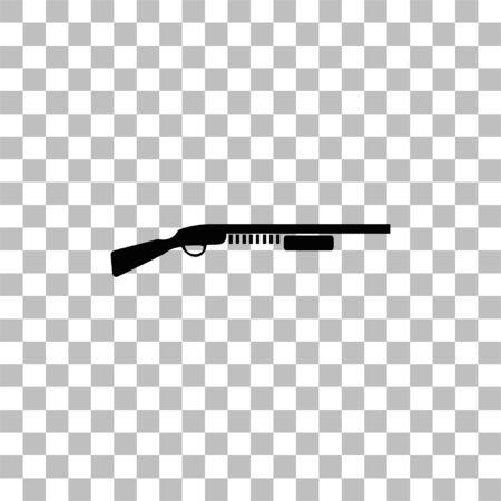 Fusil à pompe. Icône plate noire sur fond transparent. Pictogramme pour votre projet