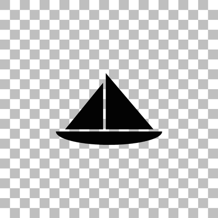 Sailing boat. Black flat icon on a transparent background. Pictogram for your project  イラスト・ベクター素材