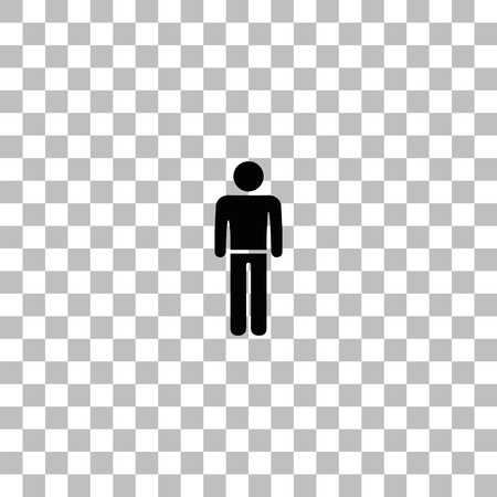 Man standing silhouette. Black flat icon on a transparent background. Pictogram for your project