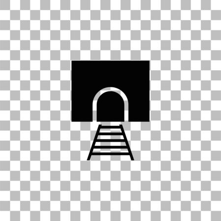 Railway tunnel. Black flat icon on a transparent background. Pictogram for your project