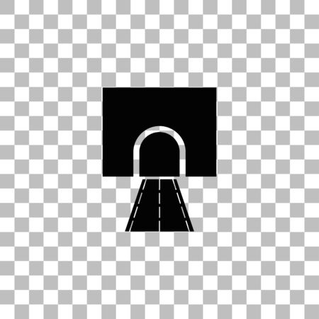 Road tunnel. Black flat icon on a transparent background. Pictogram for your project