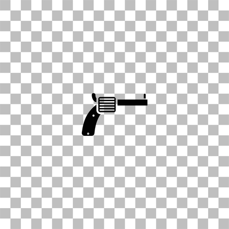 Revolver. Black flat icon on a transparent background. Pictogram for your project