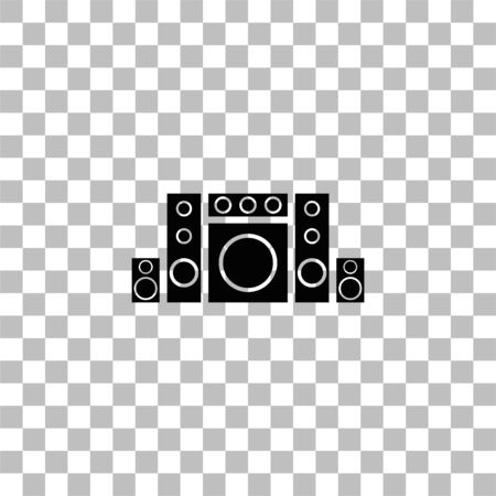 Home theater. Black flat icon on a transparent background. Pictogram for your project
