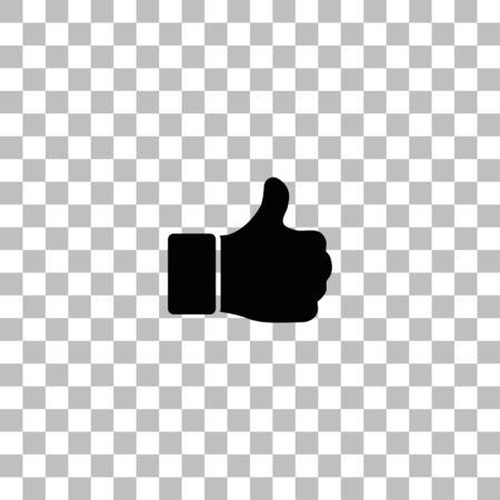 Hand Thumb Up, Like. Black flat icon on a transparent background. Pictogram for your project Illustration
