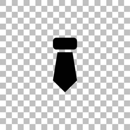 Tie, Necktie. Black flat icon on a transparent background. Pictogram for your project
