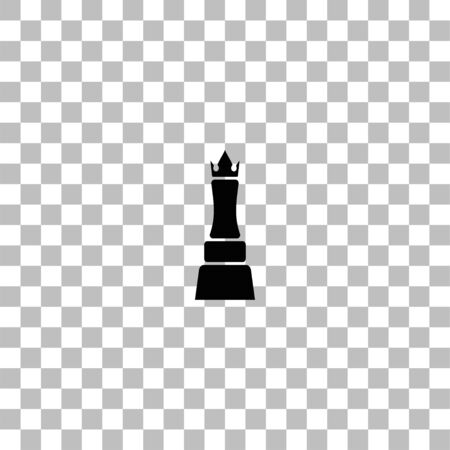 Chess queen. Black flat icon on a transparent background. Pictogram for your project