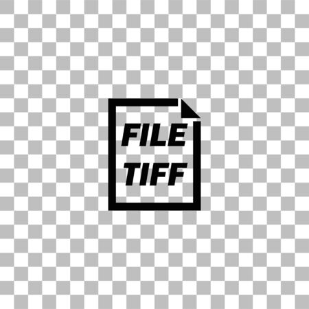 TIFF File. Black flat icon on a transparent background. Pictogram for your project Illustration