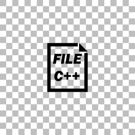 C Coding File. Black flat icon on a transparent background. Pictogram for your project