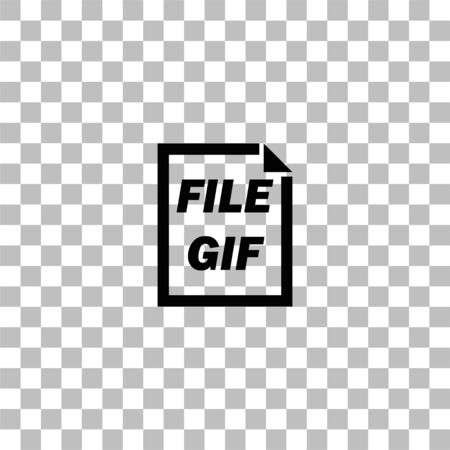 GIF File. Black flat icon on a transparent background. Pictogram for your project
