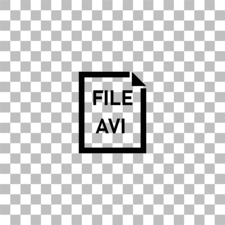 AVI File. Black flat icon on a transparent background. Pictogram for your project