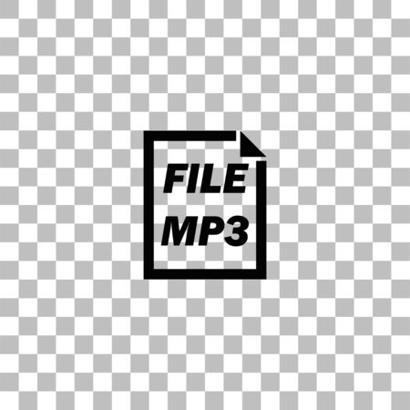 MP3 File. Black flat icon on a transparent background. Pictogram for your project Illustration