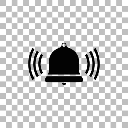 Bell Ring Voice. Black flat icon on a transparent background. Pictogram for your project Ilustração