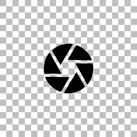 Aperture Diaphragm. Black flat icon on a transparent background. Pictogram for your project 向量圖像