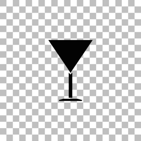 Martini Glass. Black flat icon on a transparent background. Pictogram for your project