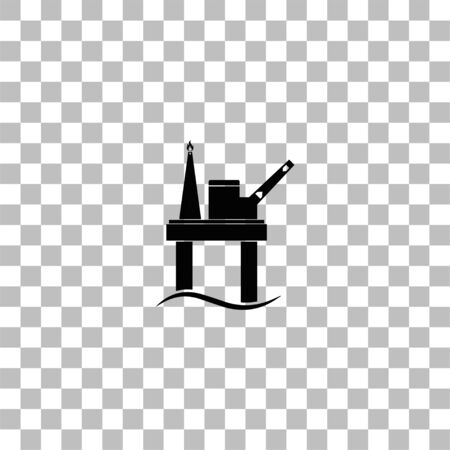 Oil platform. Black flat icon on a transparent background. Pictogram for your project