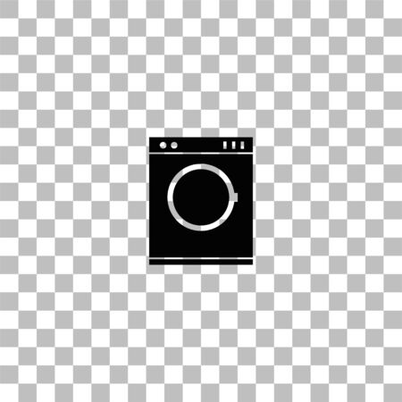 Washing machine. Black flat icon on a transparent background. Pictogram for your project