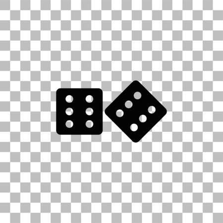 Würfel. Schwarzes flaches Symbol auf transparentem Hintergrund. Piktogramm für Ihr Projekt Vektorgrafik