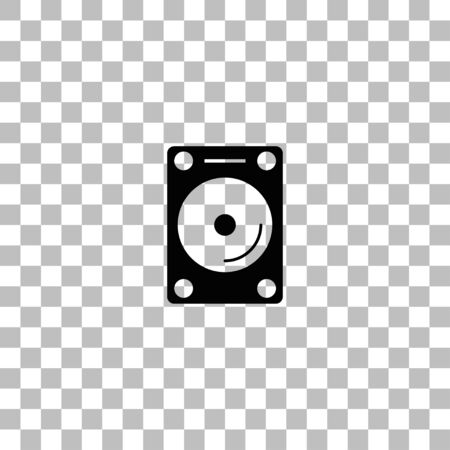 Hard drive. Black flat icon on a transparent background. Pictogram for your project