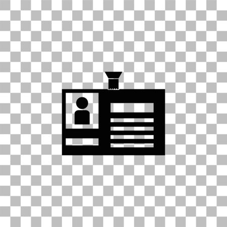 Identification card. Black flat icon on a transparent background. Pictogram for your project Illustration