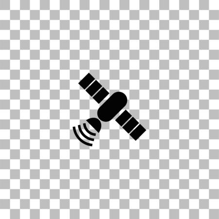 Satelite. Black flat icon on a transparent background. Pictogram for your project