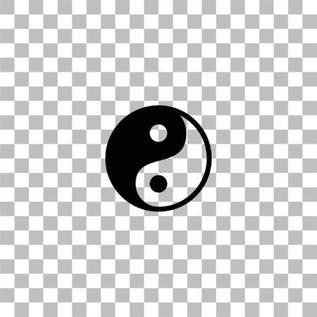 Yin Yang. Black flat icon on a transparent background. Pictogram for your project