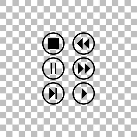 Video Audio Player buttons. Black flat icon on a transparent background. Pictogram for your project