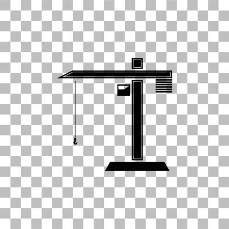 Building crane. Black flat icon on a transparent background. Pictogram for your project