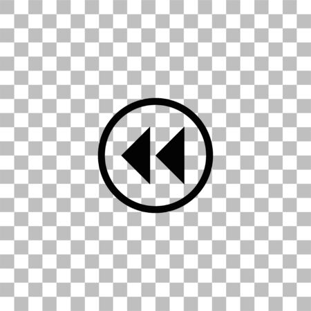 Rewind. Black flat icon on a transparent background. Pictogram for your project Illustration
