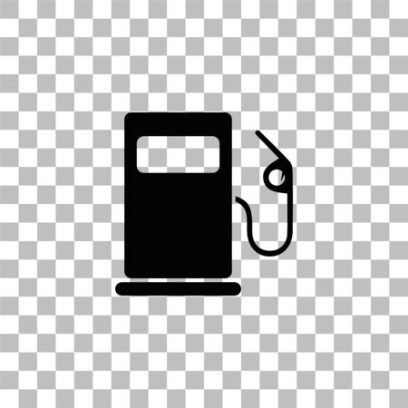 Gas station. Black flat icon on a transparent background. Pictogram for your project