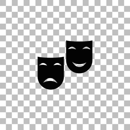 Comedy and tragedy theatrical masks. Black flat icon on a transparent background. Pictogram for your project