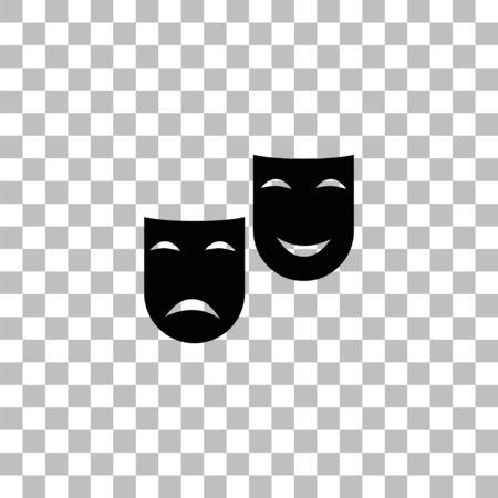 Masques de théâtre de comédie et de tragédie. Icône plate noire sur fond transparent. Pictogramme pour votre projet Vecteurs