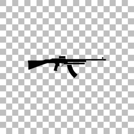 Machine gun. Black flat icon on a transparent background. Pictogram for your project