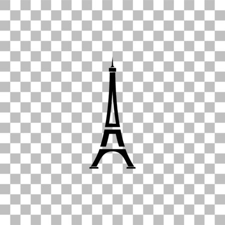 Eiffel tower. Black flat icon on a transparent background. Pictogram for your project