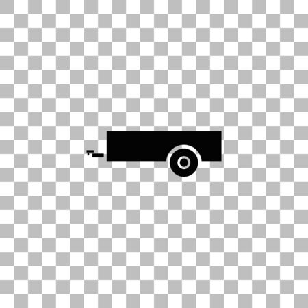 Car trailer. Black flat icon on a transparent background. Pictogram for your project