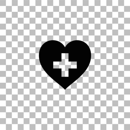Health hearth cross. Black flat icon on a transparent background. Pictogram for your project