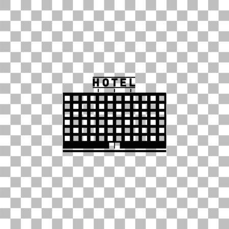 Hotel. Black flat icon on a transparent background. Pictogram for your project