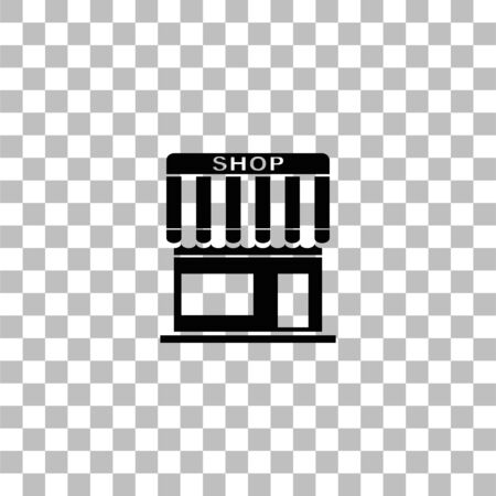 Shop. Black flat icon on a transparent background. Pictogram for your project