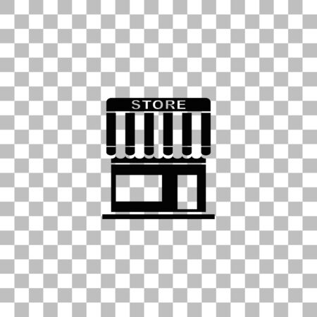 Store. Black flat icon on a transparent background. Pictogram for your project