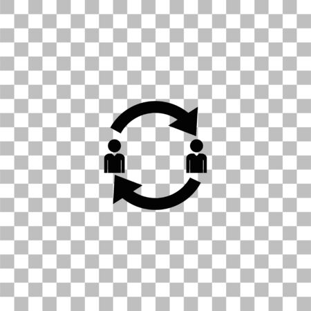 Exchange between two men. Black flat icon on a transparent background. Pictogram for your project