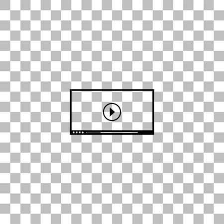 Video player for web. Black flat icon on a transparent background. Pictogram for your project Illustration