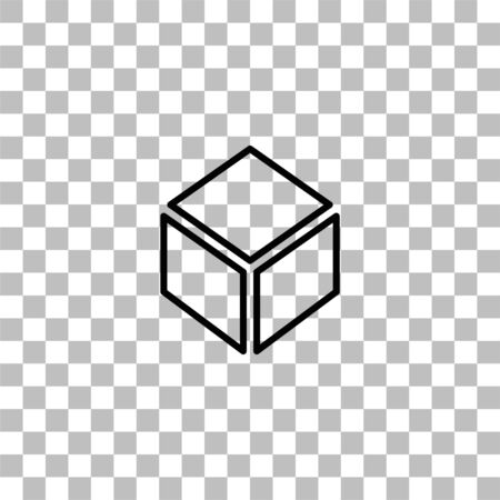 Cube. Black flat icon on a transparent background. Pictogram for your project Ilustrace