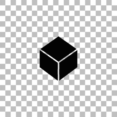 Geometric cube. Black flat icon on a transparent background. Pictogram for your project Ilustrace