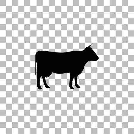 Cow. Black flat icon on a transparent background. Pictogram for your project Illustration