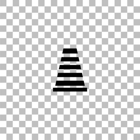 Traffic cone. Black flat icon on a transparent background. Pictogram for your project