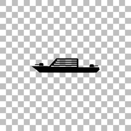 Warship. Black flat icon on a transparent background. Pictogram for your project