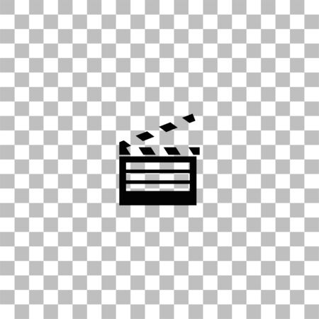 Film flap. Black flat icon on a transparent background. Pictogram for your project Ilustracja