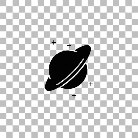 Planet. Black flat icon on a transparent background. Pictogram for your project