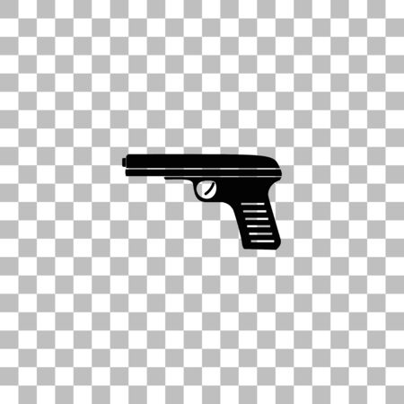 Gun. Black flat icon on a transparent background. Pictogram for your project