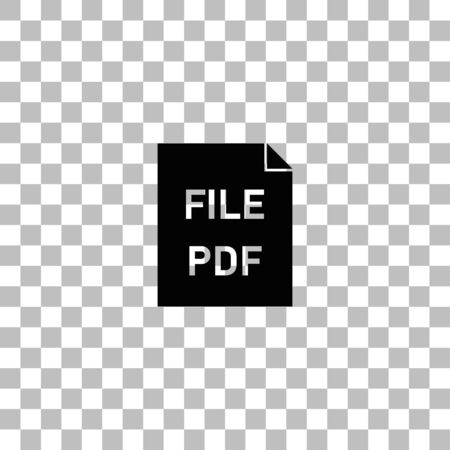 PDF. Black flat icon on a transparent background. Pictogram for your project Ilustrace
