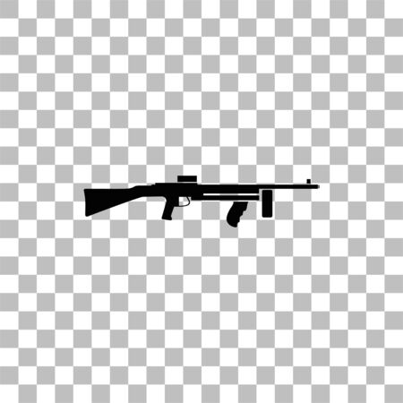 Automatic Rifle. Black flat icon on a transparent background. Pictogram for your project Ilustrace
